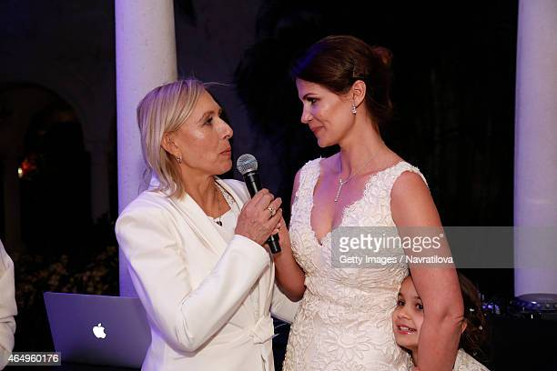 Martina Navratilova and Julie Lemigova give a speech at the Martina Navratilova and Julie Lemigova wedding reception on February 14 2015 in Palm Beach
