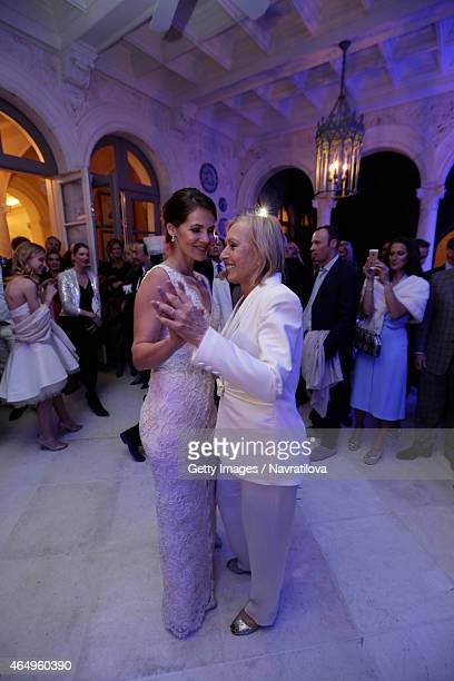 Martina Navratilova and Julie Lemigova have their first dance at the Martina Navratilova and Julie Lemigova wedding reception on February 14 2015 in...