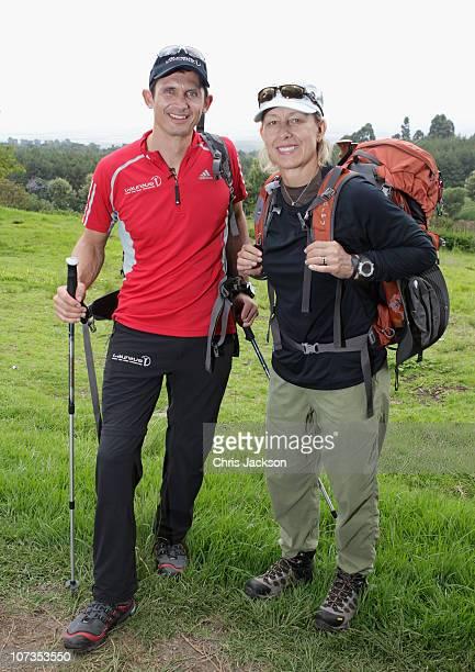 Martina Navratilova and Michael Teuber pose for a photograph at the beginning of the trek on day one of the Martina Navratilova Mt Kilimanjaro Climb...