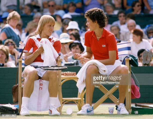 Martina Navratilova and Pam Shriver of the USA enroute to winning the women's doubles competition from Jo Durie of Great Britain and Ann Kiyomura of...