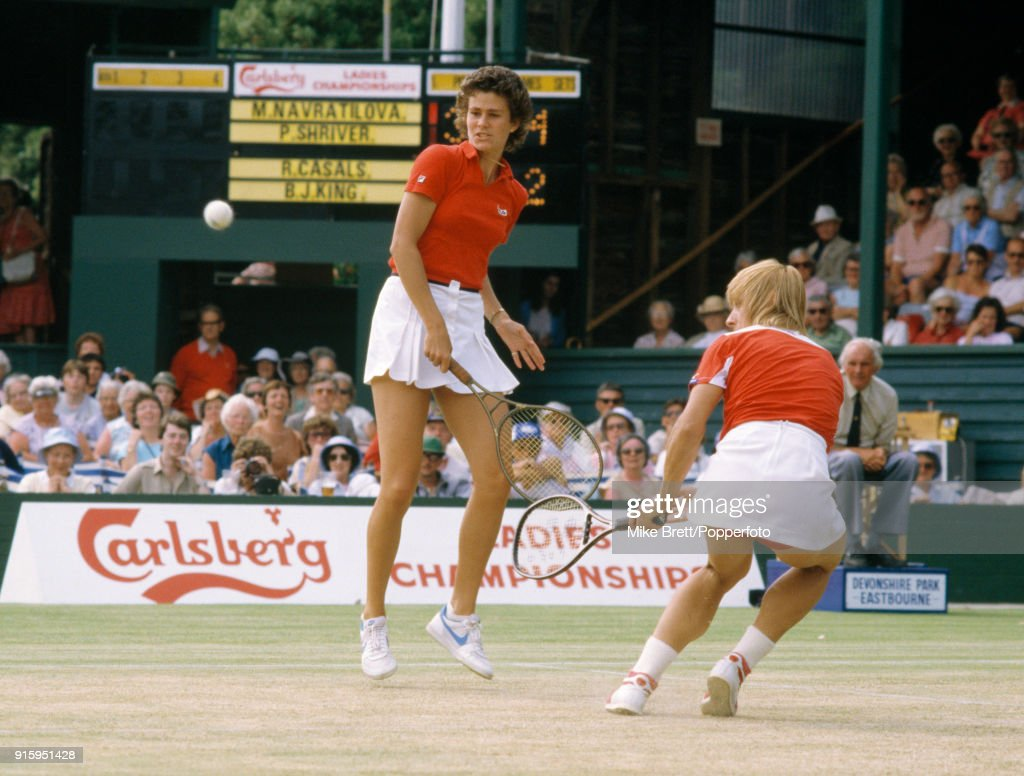 Martina Navratilova (right) and Pam Shriver of the USA in action at Eastbourne, circa June 1984.