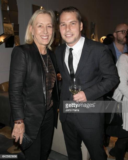Martina Navratilova and Shepard Fairey attend the Art Wynwood Tony Goldman Lifetime Artistic Achievement Award Honoring Shepard Fairey at db Moderne...