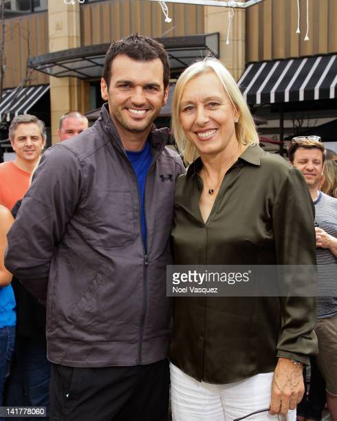Martina Navratilova and Tony Dovolani visit 'Extra' at The Grove on March 23 2012 in Los Angeles California
