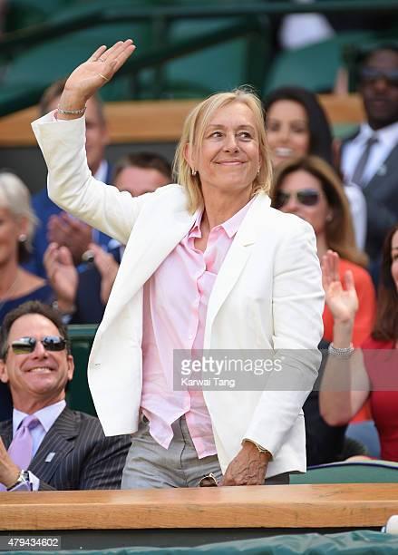 Martina Navratilova attends day six of the Wimbledon Tennis Championships at Wimbledon on July 4 2015 in London England