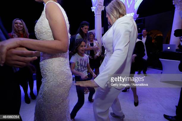 Martina Navratilova dances with daughter Emma at the Martina Navratilova and Julie Lemigova wedding reception on February 14 2015 in Palm Beach