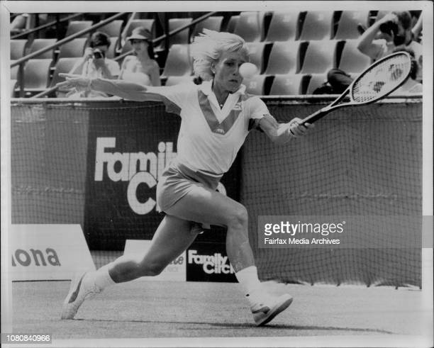 Martina Navratilova displays her new bootees on her way to beating MaryLou Piatek 64 62 yesterday November 20 1984