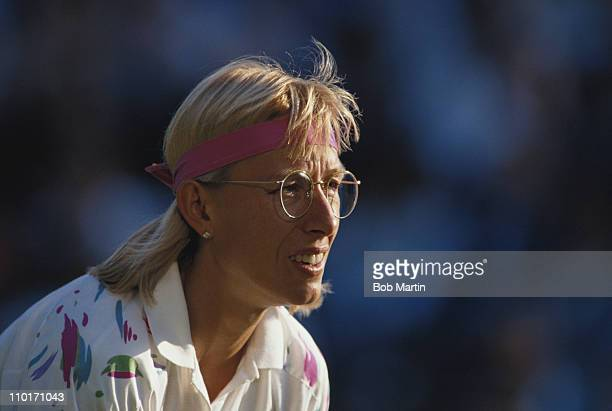 Martina Navratilova during her Women's Singles match against Catarina Lindqvist at the Wimbledon Lawn Tennis Championships on 1st July 1991 at the...