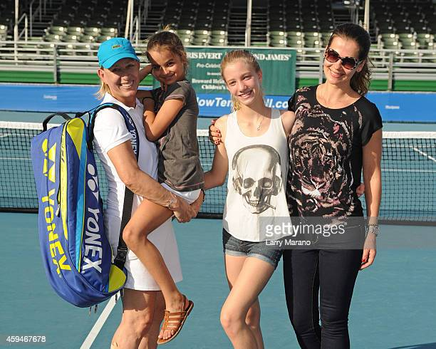 Martina Navratilova Emma Navratilova Victoria Navratilova and Julia Lemigova pose at the 25th Annual Chris Evert/Raymond James ProCelebrity Tennis...