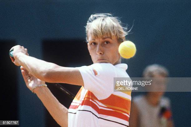 Martina Navratilova hits a backhand to her fellow countrywoman Andrea Jaeger during the final of the French Tennis Open at the Roland Garros stadium...