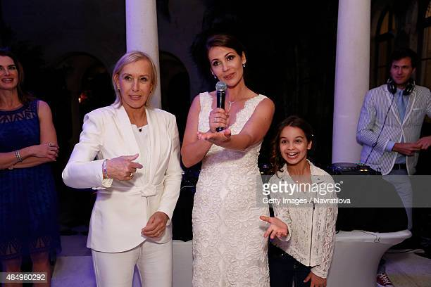 Martina Navratilova Julie Lemigova and daughter Emma give a speech at the Martina Navratilova and Julie Lemigova wedding reception on February 14...