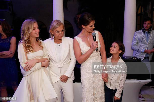 Martina Navratilova Julie Lemigova and daughters Victoria and Emma give a speech at the Martina Navratilova and Julie Lemigova wedding reception on...