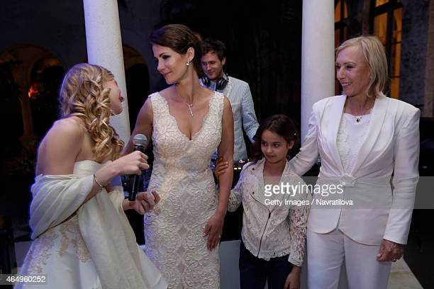 Martina Navratilova Julie Lemigova and daughters Victoria and Emma attend the Martina Navratilova and Julie Lemigova wedding reception on February 14...