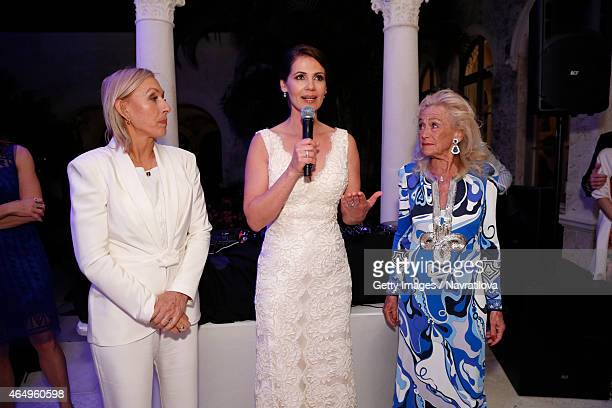 Martina Navratilova Julie Lemigova and Terry Allen Kramer give a speech at the Martina Navratilova and Julie Lemigova wedding reception on February...