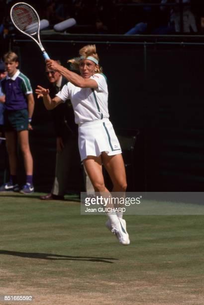 Martina Navratilova lors du tournoi de tennis de Wimbledon le 2 juillet 1988 RoyaumeUni
