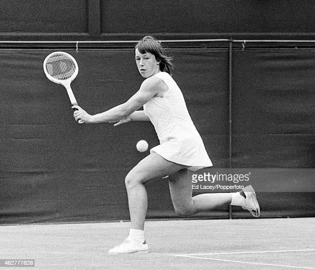 Martina Navratilova of Czechoslovakia in action at Wimbledon, circa June 1973. Navratilova lost in the third round to Patti Hogan of the United...
