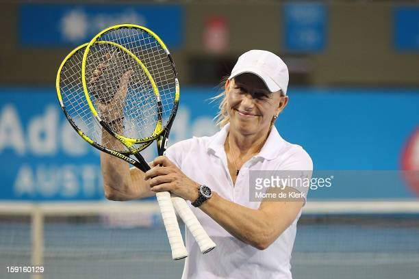 Martina Navratilova of Czechoslovakia leaves the court after her match during the World Tennis Challenge at Memorial Drive on January 9, 2013 in...