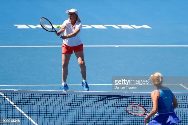 Martina Navratilova of the United States and Daniela Hantuchova of Slovakia competes in their women's doubles match against Alicia Molik of Australia...