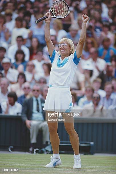 Martina Navratilova of the United States celebrates winning the Women's Singles Final match against Chris Evert at the Wimbledon Lawn Tennis...