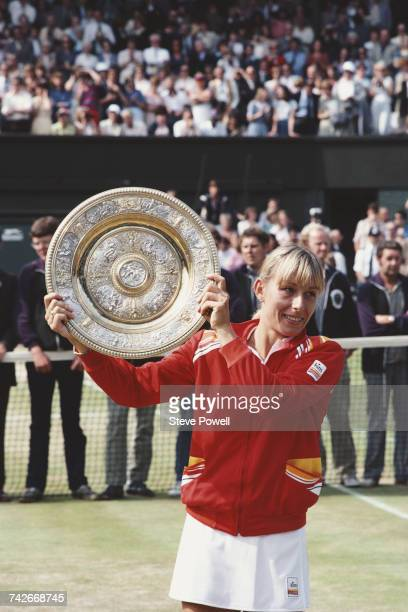 Martina Navratilova of the United States holds the Venus Rosewater Dish after defeating Chris EvertLloyd in their Women's Singles Final match at the...
