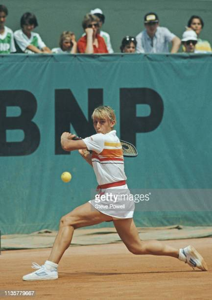 Martina Navratilova of the United States makes a backhand return against Andrea Jaeger during their Women's Singles Final match at the French Open...