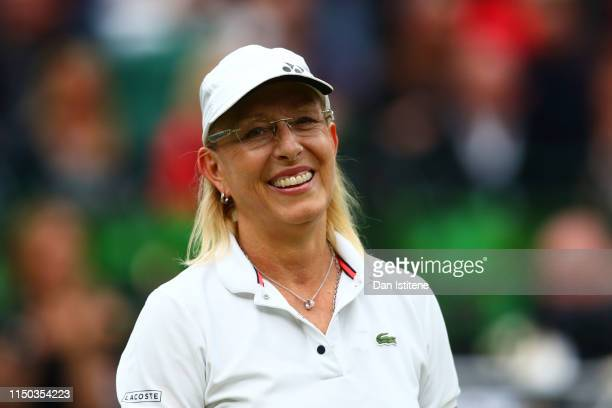 Martina Navratilova of the United States smiles during the mixed doubles match between John McEnroe of the United States and his partner Kim...