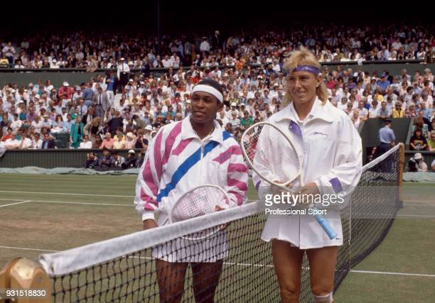 Martina Navratilova of the USA and Zina Garrison of the USA pose together ahead of the Women's Singles Final of the Wimbledon Lawn Tennis...