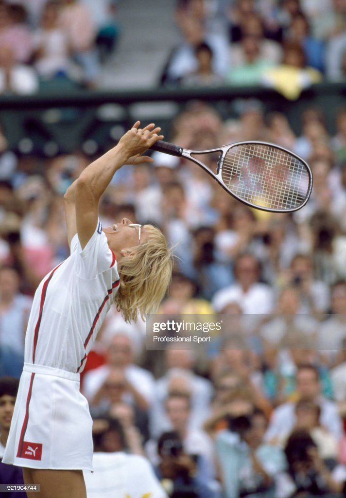 Martina Navratilova of the USA celebrates after defeating Hana Mandlikova of Czechoslovakia (not in picture) in the Women's singles Final of the Wimbledon Lawn Tennis Championships at the All England Lawn Tennis and Croquet Club on July 5, 1986 in London, England.