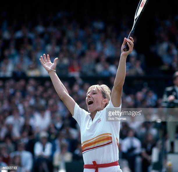 Martina Navratilova of the USA celebrates after winning the Ladies Singles Final of the Wimbledon Lawn Tennis Championships held in London England...