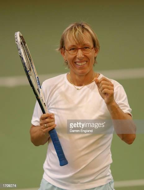 Martina Navratilova of the USA celebrates winning her 167th career doubles title with partner Svetlana Kuznetsova of Russia during the Doubles Final...