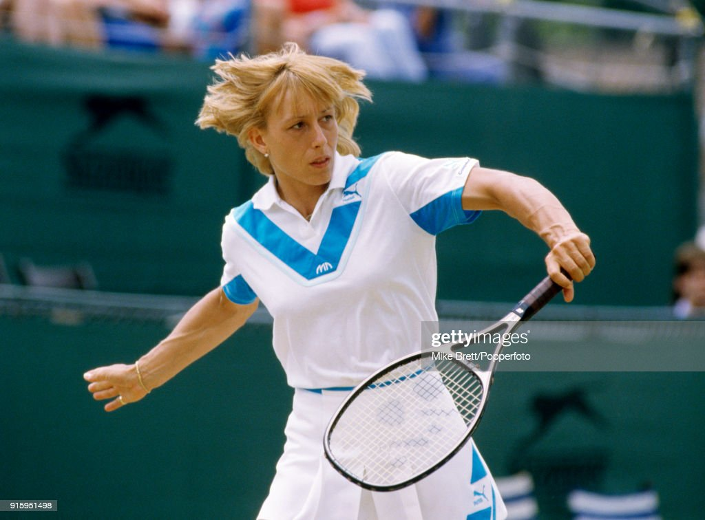 Martina Navratilova of the USA enroute to winning the women's singles competition from Kathy Jordan of the USA in straight sets at Eastbourne on 24th June 1984.