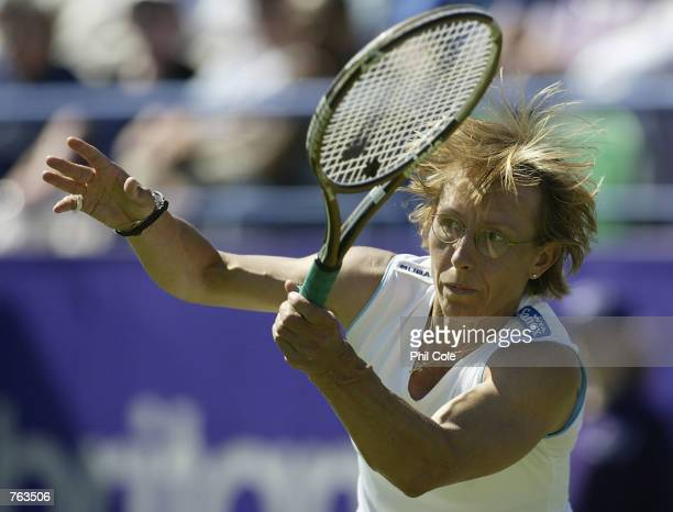 Martina Navratilova of the USA in action against Tatiana Panova of Russia during the first round of the ladies singles in the Britannic Asset...