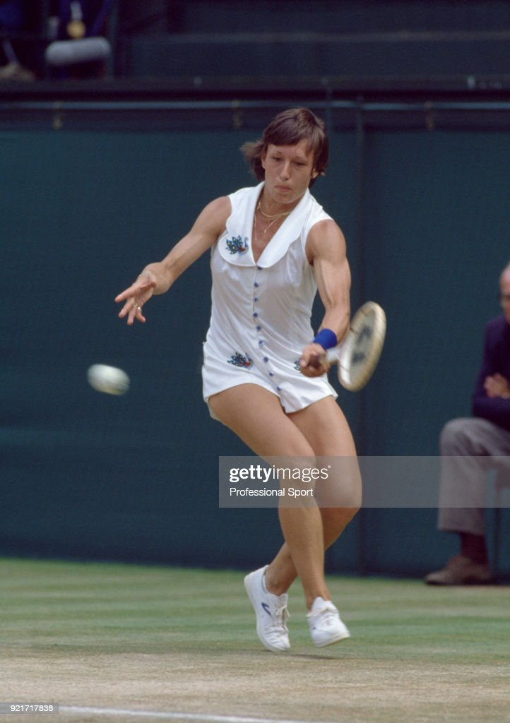 Martina Navratilova of the USA in action during the Wimbledon Lawn Tennis Championships at the All England Lawn Tennis and Croquet Club circa June, 1979 in London, England.