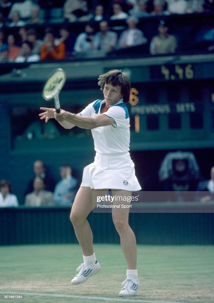 Martina Navratilova of the USA in action during the Wimbledon Lawn Tennis Championships at the All England Lawn Tennis and Croquet Club circa June, 1980 in London, England.