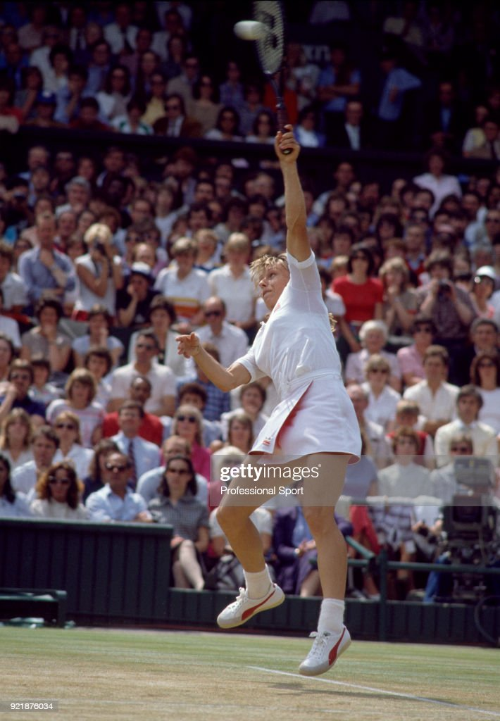 Martina Navratilova of the USA in action during the Wimbledon Lawn Tennis Championships at the All England Lawn Tennis and Croquet Club circa June, 1983 in London, England.