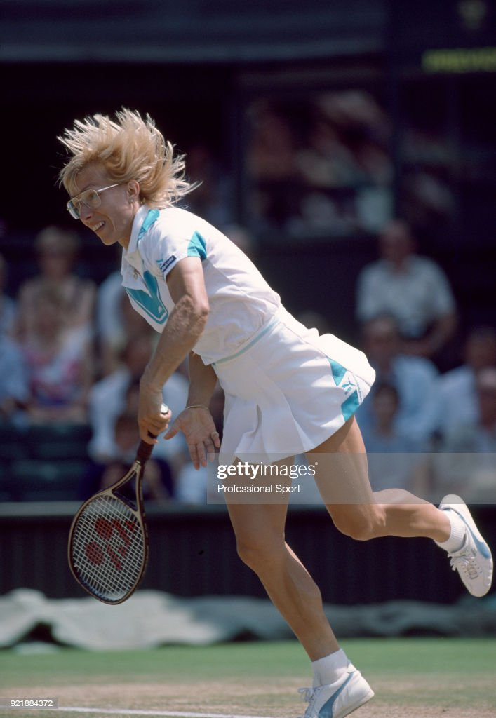 Martina Navratilova of the USA in action during the Wimbledon Lawn Tennis Championships at the All England Lawn Tennis and Croquet Club, circa June 1985 in London, England.