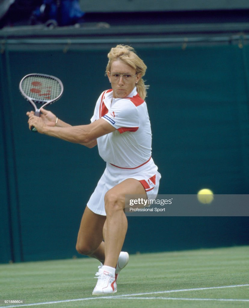Martina Navratilova of the USA in action during the Wimbledon Lawn Tennis Championships at the All England Lawn Tennis and Croquet Club, circa June, 1986 in London, England.