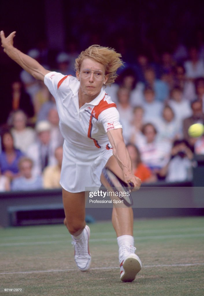 Martina Navratilova of the USA in action during the Wimbledon Lawn Tennis Championships at the All England Lawn Tennis and Croquet Club, circa June, 1987 in London, England.