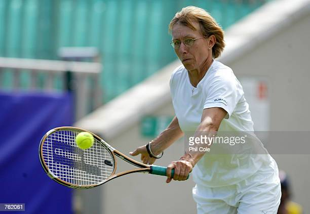 Martina Navratilova of the USA in action with her doubles partner Natasha Zvereva of Belrus against Amanda Coetzer of South Africa and Lori McNeil of...