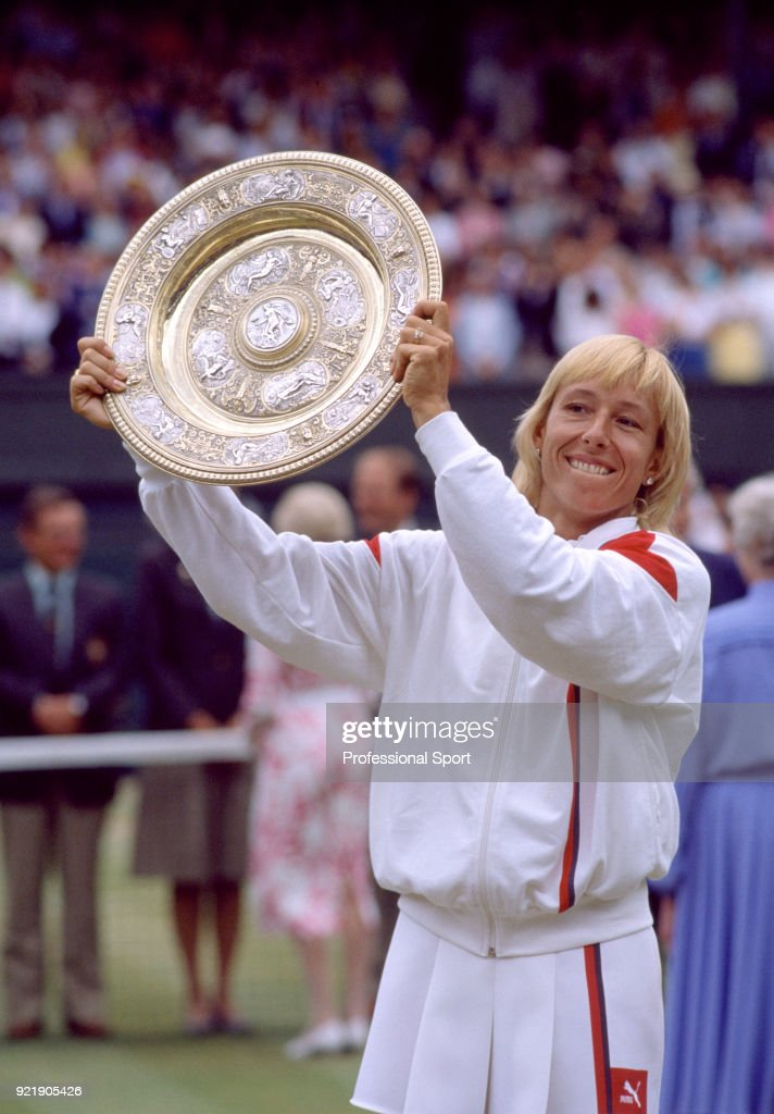Martina Navratilova of the USA lifts the trophy after defeating Hana Mandlikova of Czechoslovakia (not in picture) in the Women's singles Final of the Wimbledon Lawn Tennis Championships at the All England Lawn Tennis and Croquet Club on July 5, 1986 in London, England.