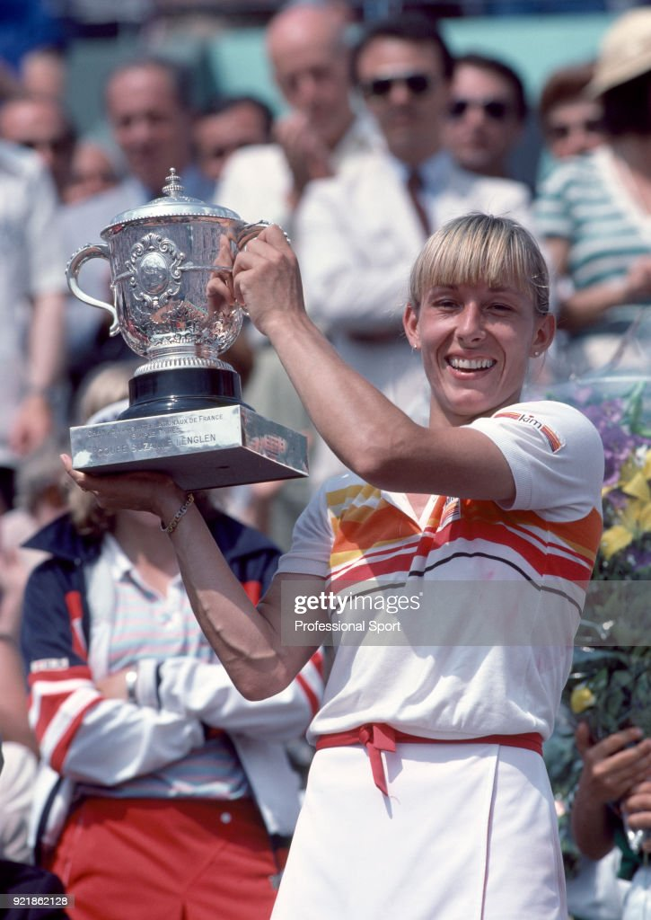 Martina Navratilova of the USA lifts the trophy after defeating Andrea Jaeger of the USA (not in picture) in the Women's Singles Final of the French Open Tennis Championships at the Stade Roland Garros on June 5, 1982 in Paris, France.