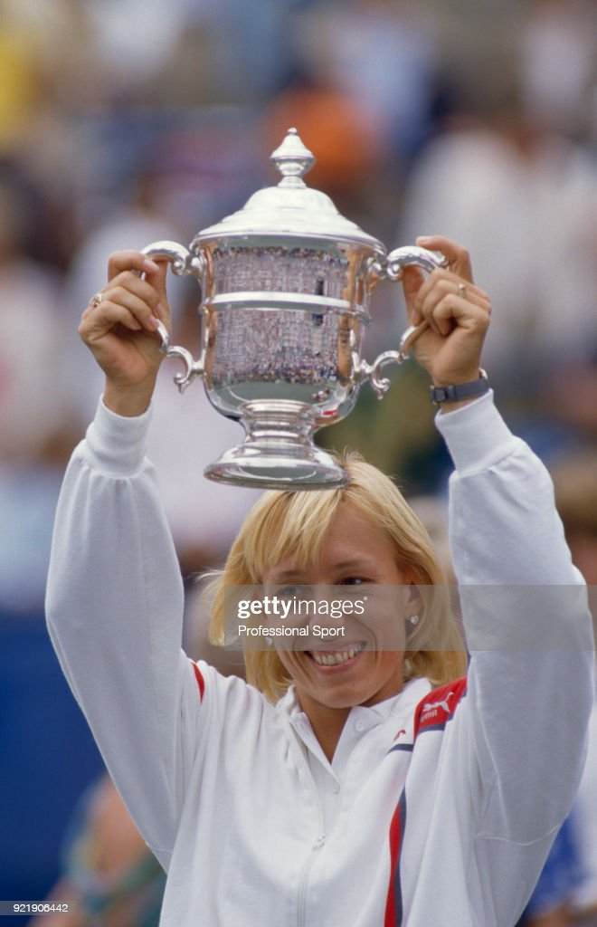 Martina Navratilova of the USA lifts the trophy after defeating Helena Sukova of Czechoslovakia in the Women's Singles Final of the US Open at the USTA National Tennis Center on September 7, 1986 in Flushing Meadow, New York, USA.