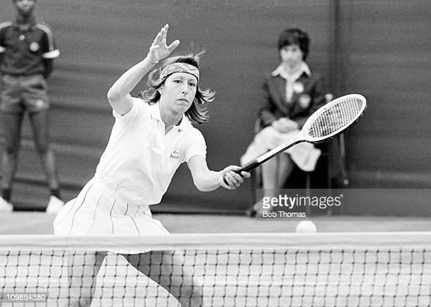 Martina Navratilova of the USA playing at Wimbledon in June 1981. .