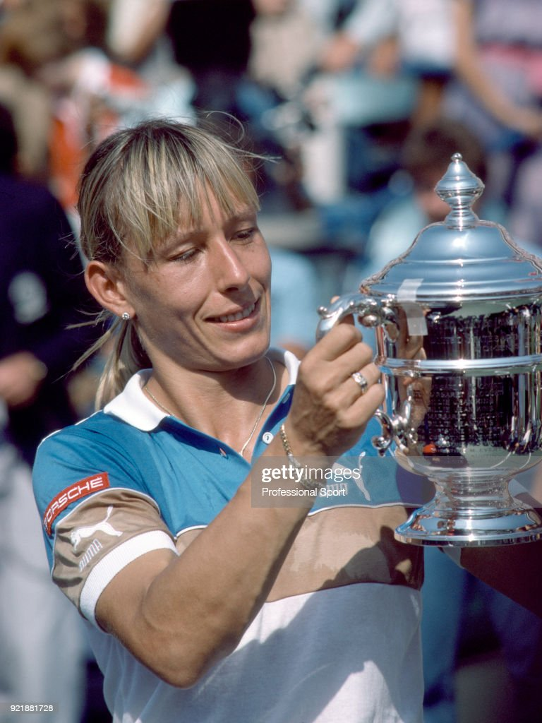 Martina Navratilova of the USA poses with the trophy after defeating Chris Evert-Lloyd of the USA (not in picture) in the Women's Singles Final of the US Open at the USTA National Tennis Center on September 10, 1983 in Flushing Meadow, New York, USA.