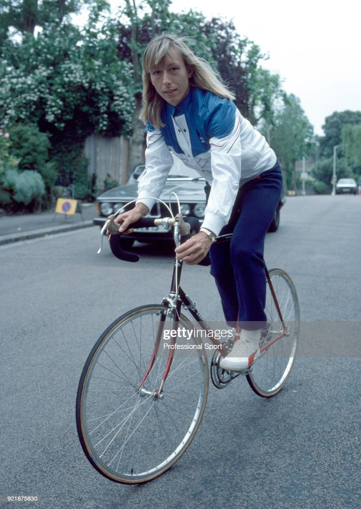 Martina Navratilova of the USA rides a bicycle during the Wimbledon Lawn Tennis Championships at the All England Lawn Tennis and Croquet Club circa June, 1983 in London, England.