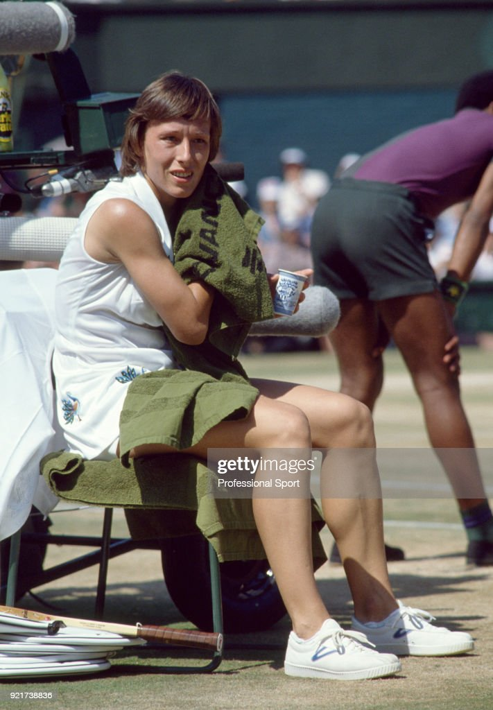 Martina Navratilova of the USA takes a break during the Wimbledon Lawn Tennis Championships at the All England Lawn Tennis and Croquet Club circa June, 1979 in London, England.