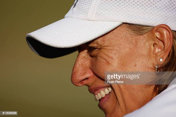 Martina Navratilova of United States looks on playing with Helena Sukova of Czech Republic during the ladies invitational doubles Final against Kathy...
