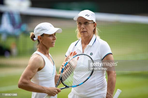 Martina Navratilova of United States of America and Cara Black of Zimbabwe in action during the Ladies Invitational Doubles against Mary Joe...
