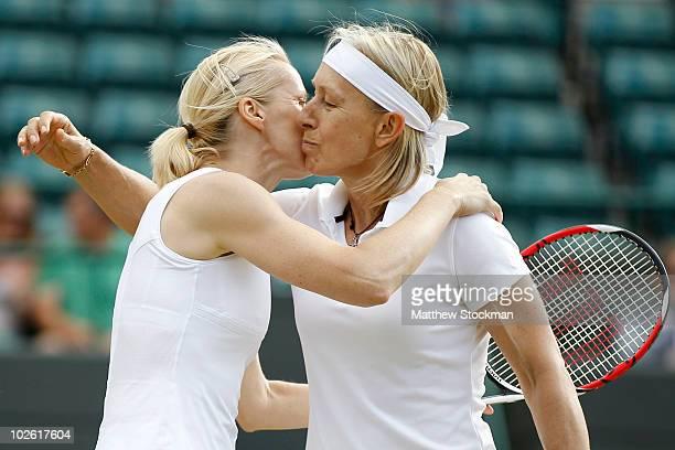Martina Navratilova of USA and Jana Novotna of Czech Republic celebrate winning the Ladies Invitational Doubles Final against Tracy Austin and Kathy...