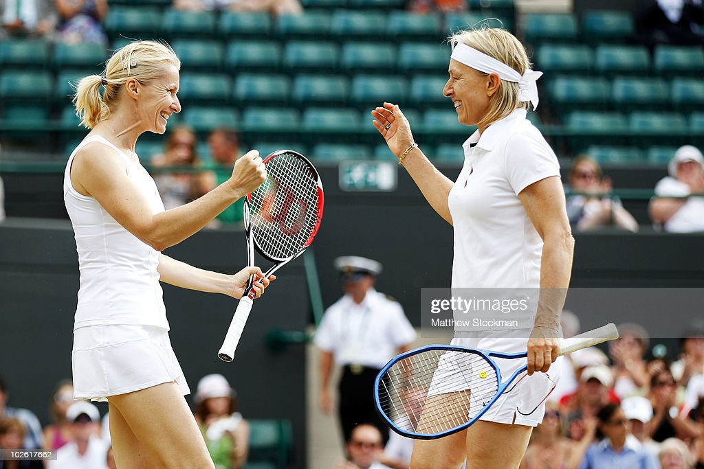 Martina Navratilova of USA (R) and Jana Novotna of Czech Republic celebrate winning the Ladies Invitational Doubles Final against Tracy Austin and Kathy Rinaldi-Stunkel of USA on Day Thirteen of the Wimbledon Lawn Tennis Championships at the All England Lawn Tennis and Croquet Club on July 4, 2010 in London, England.