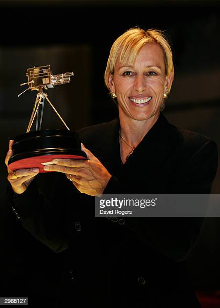 Martina Navratilova poses with the Lifetime Achievement award at the BBC Sports Personality of the Year Awards on December 14, 2003 at BBC Television...